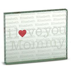Personalized Heart 2 Sided Glass Block