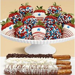 Four Caramel Pretzels and Full Dozen Star Spangled Strawberries