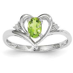 14K White Gold Peridot and Diamond Heart Design Ring