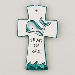 Trust in God Whale Ceramic Cross