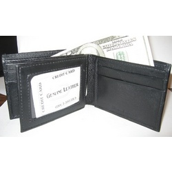 Leather Bifold with Transparent ID Holder