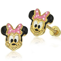 14k Gold Minnie Mouse Stud Earrings with Pink Enamel Bow