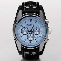 Sport Cuff Black Leather Watch