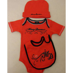 Girl's Harley Davidson Newborn Orange Gift Set