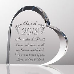 Crystal Heart Personalized Graduation Plaque