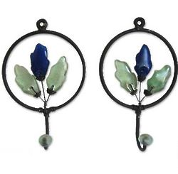 Blue Revival Iron and Recycled Glass Coat Hooks