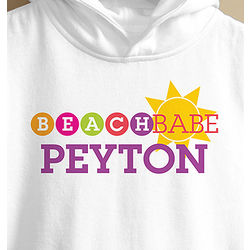 Personalized Beach Babe Toddler Hooded Sweatshirt