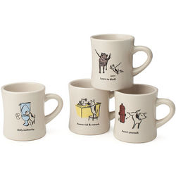 Bad Dog Wisdom Ceramic Diner Mugs