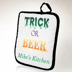 Personalized Trick or Beer Pot Holder