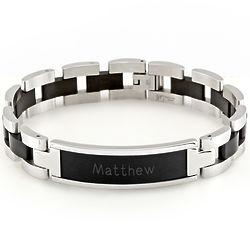 Men's Black and Steel ID Bracelet