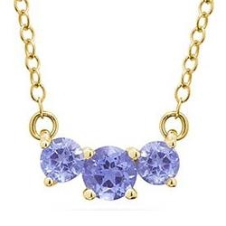 Tanzanite Three Stone Pendant Necklace in 14K Yellow Gold