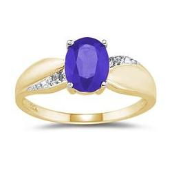 Tanzanite and Diamond Ring in 10K Yellow Gold