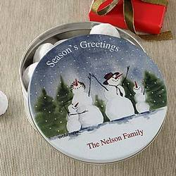 Snowman Family Personalized Holiday Gift Tin