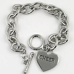 Engravable Heart Charm Cheerleading Toggle Bracelet