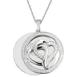 Engravable Diamond Double Hearts Necklace
