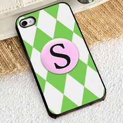Green Diamonds iPhone Case with Black Trim
