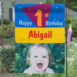 Birthday Party Personalized Photo Garden Flag