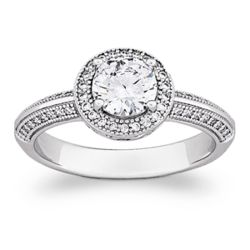 Sterling Silver Cubic Zirconia Vintage Solitaire Ring