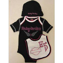 Girl's Harley Davidson Newborn Black Gift Set