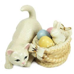 Lenox Kitty with Easter Basket Figurine