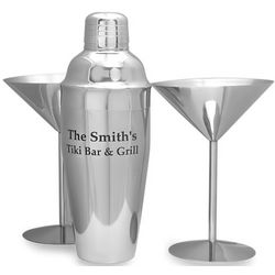 Stainless Steel Martini Glasses and Engraved Cocktail Shaker