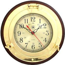 Wood & Brass Porthole Clock