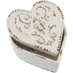 White Heart Ceramic Box