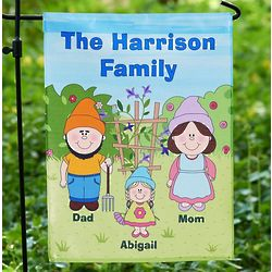 Personalized Gnome Family Garden Flag