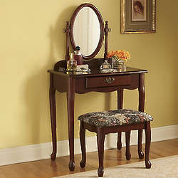Vanity And Upholstered Bench