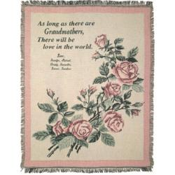 Personalized Grandmother Throw with Flowers
