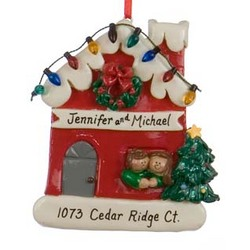 Couple in Red House with Lights Personalized Christmas Ornament