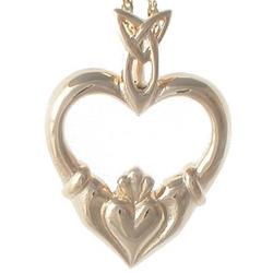 14KT Heart Claddagh Pendant