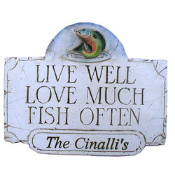 Personalized Live Well Love Much Fish Often Plaque