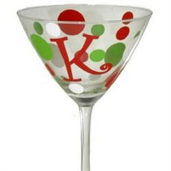 Personalized Holiday Polka Dots Glass