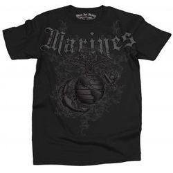 Black Ink Design Marines Vintage Black T-Shirt