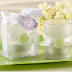 """Cute as a Button"" Frosted-Glass Tealight Holder Favors"
