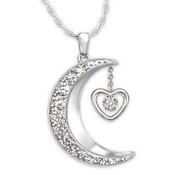 Moon Shaped Diamond Pendant Necklace for Granddaughter