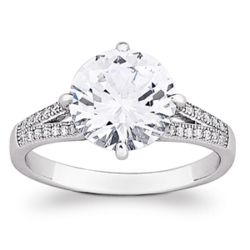 Cubic Zirconia Sterling Silver Solitaire Cocktail Ring