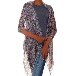 Indigo Garden Silk Batik Shawl
