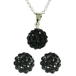Black Swarovski Elements Crystal Disco Ball Necklace and Earrings