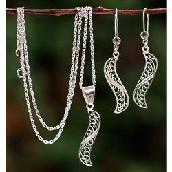 Inclination Sterling Silver Filigree Pendant and Earrings