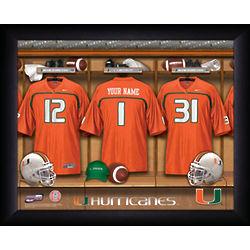 Personalized Miami Hurricanes Football Locker Room Print