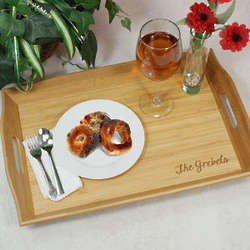 Engraved Bamboo Serving Tray