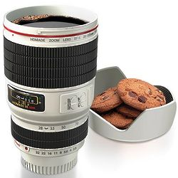 White Camera Lens Travel Mug