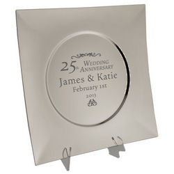 Silver 25th Anniversary Personalized Keepsake Plate