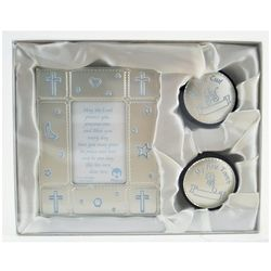 Baby Boy Picture Frame and Keepsake Holders Gift Set
