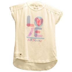 Girl's White Cotton Love Armani Sleeveless Top