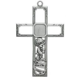 Engraveable Boy's Bless This Child Pewter Cross