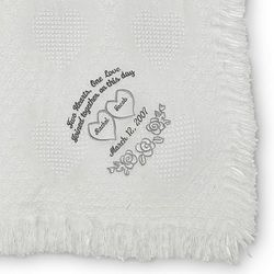 White Heart Marriage Throw