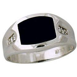 Mens 10K White Gold Diamond and Onyx Ring